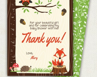 WOODLAND matching thank you card, forest animals, customizable text upon request, Printable file, owl and fox shower party, hoot in tree