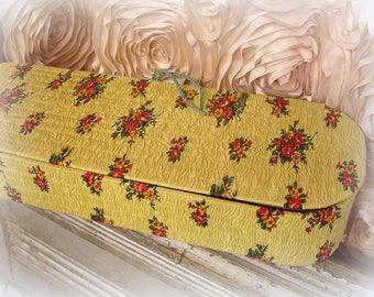 charming vintage glove box textured marigold yellow red and green floral print quilted gathered elongated oval paperboard box with lid