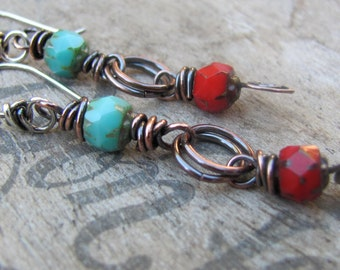 Bohemian Earrings, Mixed Metal Earrings, Beaded Earrings, Beaded Dangle Earrings