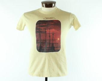 Vintage 80s HANES Surf Shop T-shirt Screen Tee Short Sleeve Knit Shirt Mens Size Medium M Small S 1980s