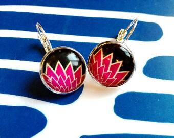 Pop Floral cabochon earrings- 16mm