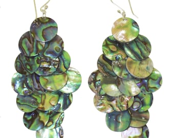 Dazzling Polished Paua Abalone Shell 7-Tiered  Chandelier Earrings.