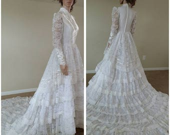 vintage 70s lace ruffles wedding dress wedding gown with train by Bridallure inc