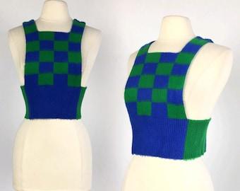 Vintage 70s Blue & Green CROPPED SWEATER jumper size S M avant garde cute bib fuzzy boho retro sleeveless