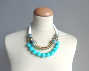 Mint turquoise white statement tribal gold necklace