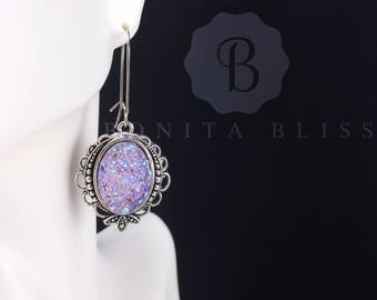 Light Purple Ornate Oval Druzy Earrings, Faux Druzy Earrings, Bridesmaid Gift Druzy, Silver Druzy Earrings, Oval Drusy