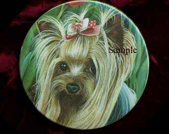 Sweet Yorkie Yorkshire Terrier Portrait Purse Mirror 2 sizes available