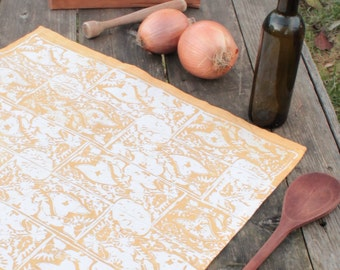 hand printed cotton tea towel botanical border pattern