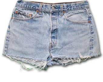 Vintage 90s Levi's Light/Medium BUTTON FLY Blue Wash High Waisted Rise Cut Offs Jean Denim Shorts – Size 29/30