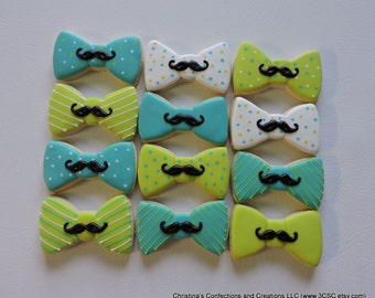 Adorable little man Bow Tie cookies with Mustache (#2392)
