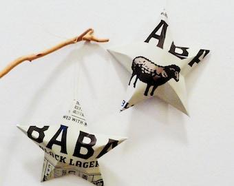 Baba Black Lager - Set of 2 Stars, Beer Can, Handmade Christmas Ornaments, Black Sheep