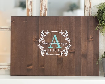 Wedding Guest Book Wood Sign, Elegant Hand Painted Design