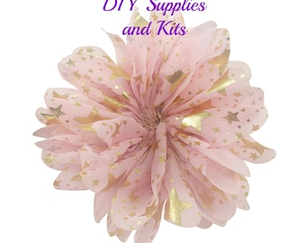 "3.5"" Pink gold stars speckle flower - Fabric flower - Pink flowers"