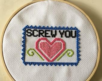 Screw You Sassy Cross Stitch