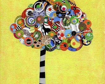 Tree Art - Tree Collage Multi-colored Tree of Curiosities - 8x10 Art Print - Yellow black and white
