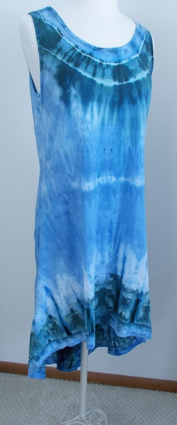 Hi-Lo Cotton Jersey Tank Dress Ice Dyed Tie Dyed Medium