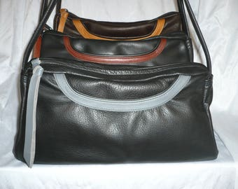 LEATHER CROSSBODY BAG With Organizer and Cell phone compartment Style #432