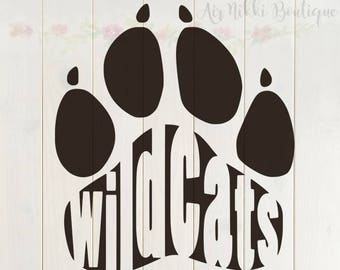 Wildcats Paw Print SVG, PNG, DXF files, instant download