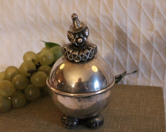 Lunt Silverplate Circus Clown Coin Bank in Excellent Condition!