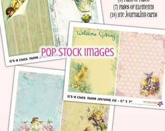 Printable EASTER Journal Kit - It's a Chick Thing - 5x7 Papers - Baby Chicks - Journal Insert - Collage - Journaling - Pastel Art Journal