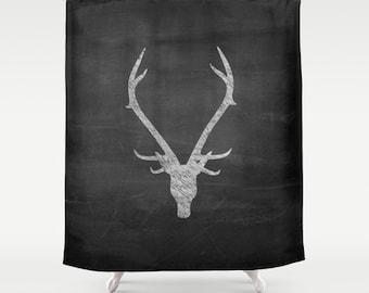 Shower Curtain, Rustic Home Decor, Deer Antler Decor, Boys Shower Curtain, Mens Gift, Gifts for Boyfriend, Housewarming Gift, Black, Red