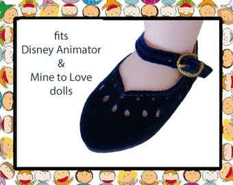 Doll shoes, 2-3/8 in long x 1-1/8 wide, Navy doll shoes, Animator doll shoes, Mine to Love 14 doll shoes, faux suede doll shoes