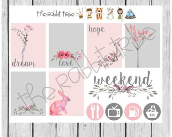 Weekly sticker set - watercolor flowers - planner stickers