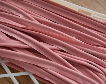 2.5 yards Pink Piping-  Vintage Trim Embroidered 70s New Old Stock Upholstery