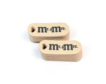 Custom Wedding Favor Tags - Mini Tags - Personalized Tag  - Kraft Tags - Wedding Tags - Mr. & Mrs wedding favor tags - small tags