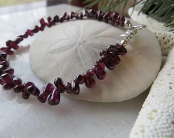Garnet Bracelet, Valentine Bracelet, January Birthstone Bracelet,Teardrop Garnet Bracelet, Heart Garnet Bracelet, Stacking Layering Bracelet