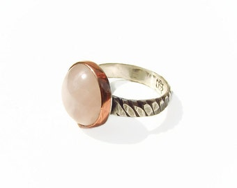 Rose Quartz sterling ring,Mixed Metal Stack Ring,Rustic stack Ring, Hammered Ring, Silver and Copper Stack Ring,Statement Ring,Oxidized Ring