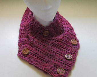 Womans Orchid Scarf Hand Dyed Wool Woolen Fashion Cowl Chic Crochet knit Sexy Wrap Artisan Wooden Buttons Mothers Day Birthday Anniversary