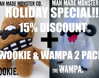 Star Wars inspired Wookie 'Chewbacca' & Wampa plush soft toys. 2 pack 15% discount deal. cute monsters.