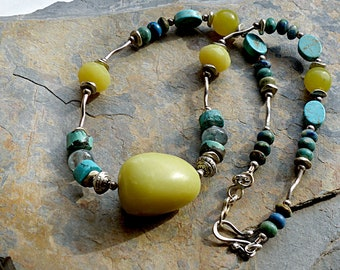 Chartreuse & Turquoise Necklace.Mixed Stones with Sterling Silver.Chunky Jade Focal Bead.Kyanite.Rustic Boho Tribal Southwest Style Jewelry