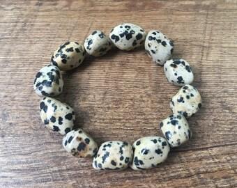 Dalmatian Nugget Bracelet, Spotted Jasper Bracelet, Dalmatian Jasper Bracelet, Dalmatian bracelet, stretch bracelet