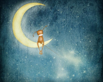 Fishing for stars -  Art print (3 different sizes)