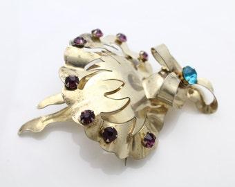 Vintage Gold on Sterling Silver Wreath Brooch w Amethyst Purple Rhinestones. [194]