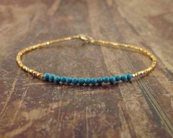 Turquoise Bracelet December Birthstone Bracelet Turquoise Bracelets Turquoise Beaded Bracelets Turquoise Jewelry Womens Gift Bead Bracelet