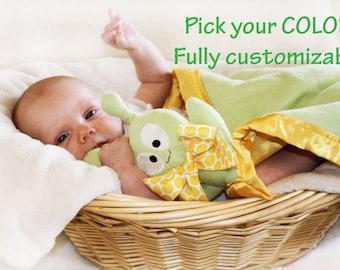 Green Alien Security Blanket, Baby blanket Lovey Blanket, Satin, Baby Blanket, Stuffed Animal, Baby Toy - Customize Color monogramming