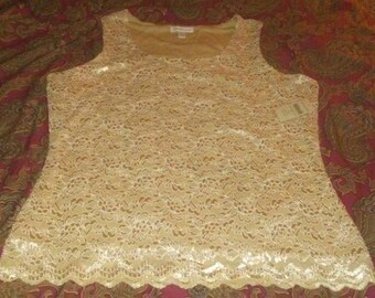 Vintage Coldwater Creek Beige Lace Sleeveless Top