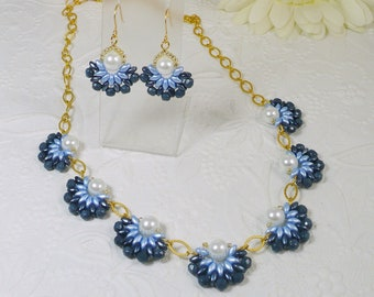 Woven Flower Necklace and Earrings Set in Denim Blue Daisies