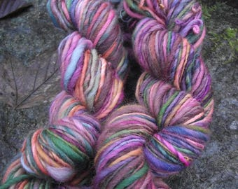 Handspun yarn, handpainted hand dyed yarn, soft Organic Polwarth wool, multiple skeins available-Faerie Tale