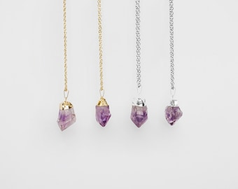 Amethyst Necklace / gold or silver plated raw quartz necklace