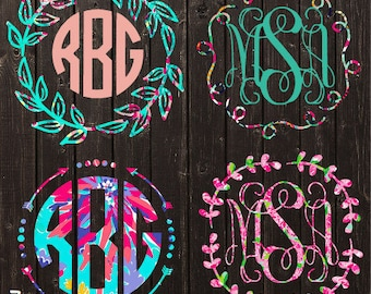 Lilly Pulitzer Monogram Decal / Vinyl Decal / Bridesmaid Gift / Womens Gift / Car Decal / Yeti Decal / Laptop Decal/ Personalized Decal