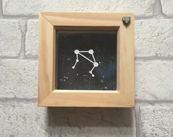 Libra Zodiac constellation framed papercut art, Libra, zodiac gift.