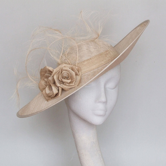 Champagne Wide Brim Fascinator   Kentucky Derby Hat   Royal Ascot Hat     Derby Race Day Hat   Ss2018 by Etsy