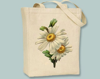 Lovely Vintage Daisies NATURAL or BLACK Canvas Tote - selection of sizes available