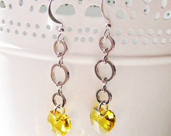 Yellow crystal Heart Earrings made with Swarovski - Crystal earrings, Dangle Earrings made with Swarovski crystals, Bridal earrings