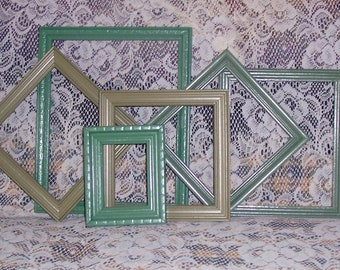 Green frame grouping wall decor upcycled vintage rescued wooden cottage chic autumn colors