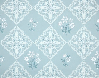 1940s Vintage Wallpaper by the Yard - Blue and White Geometric with White Flowers